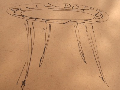 bespoke occasional table sketch by Grant Sonnex - furniture designer and maker