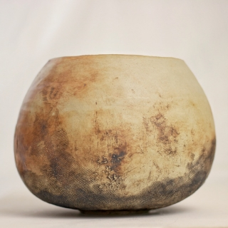 Coil-built Stoneware pot with oxides and white glazed interior, by Grant Sonnex. December 2018